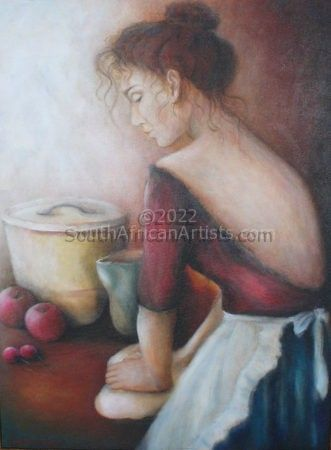 """Girl in Red Dress Kneading Dough"""