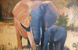 """Elephant Mother and her Calf"""