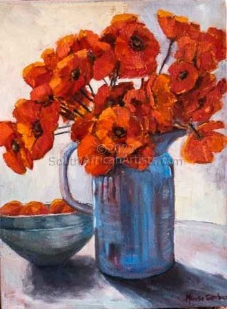 """Blue Jug with Red Poppies"""