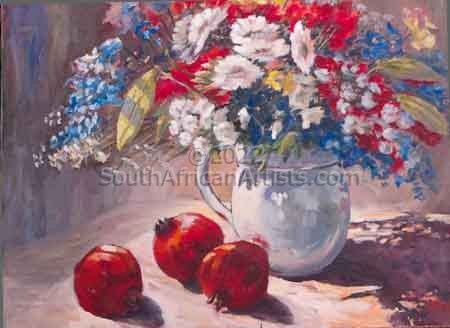 """Red and White Still Life"""