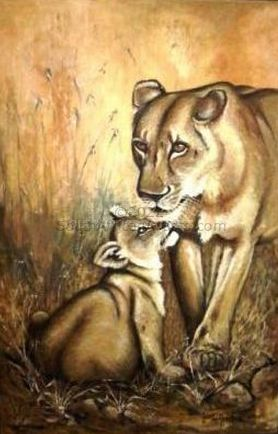 """Lioness with Cub"""