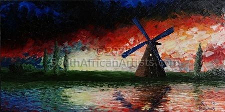 """Red Sunset Windmill"""