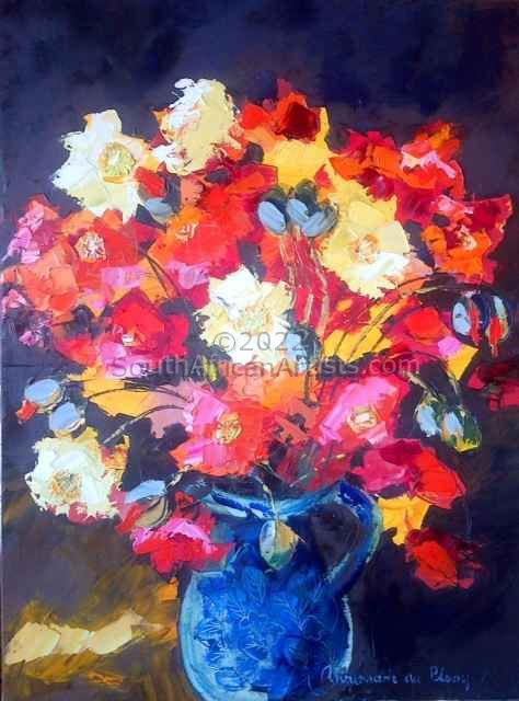 """Poppies in Blue Pot"""