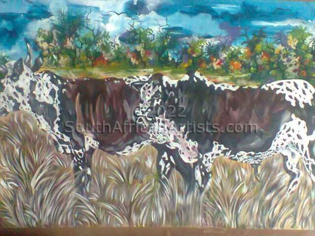 """Couple of Nguni Cattle Mother at the Front"""