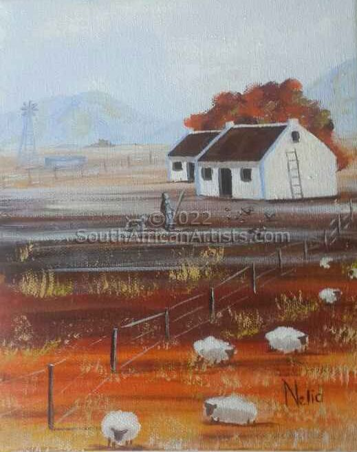 """Cape Autumn Man and Dog Watching Sheep"""