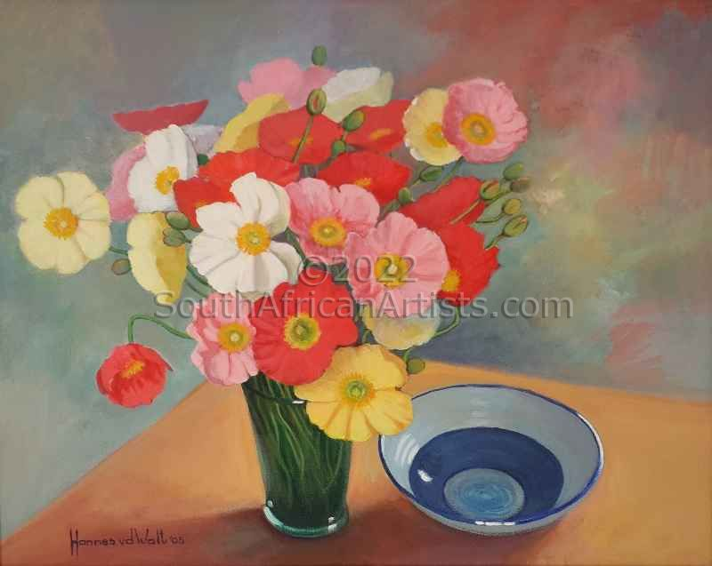 """Poppies in Green Vase"""