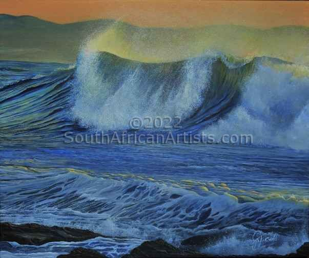 """Breaking Wave at Dawn"""